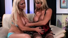 Two hungry blonde lesbians get each other off for the cameras