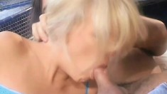 A gorgeous blonde is in ecstasy as her holes get filled with meat