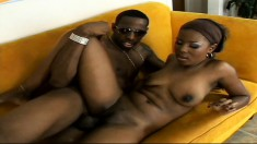 Dark as hell beauty with a big butt gets her tight cunt creamed