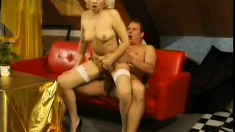 Horny mature blonde in white stockings can't get enough of a hard rod deep in her twat
