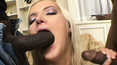 Two insatiable black fuckers enjoy banging a slutty blonde babe