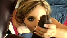Stacked blonde with a marvelous ass Nicole Banks rides a big black cock POV style
