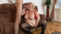Hungry granny gets an awesome fuck from the young stud with big cock