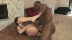 Sophie Dee gets her ass hammered by his big black dick and sucks on it