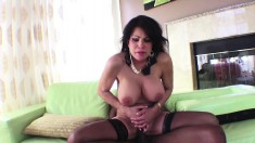 Stacked brunette milf in stockings explores her desire for dark meat