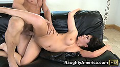 Asian slut London Keyes takes his boner in as many positions as she can