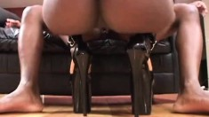 Sensuous ebony girl with big hooters welcomes a black pole up her ass