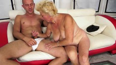 Fat granny Tamara gets her well used cunny hammered by a young dude