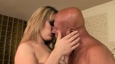 Uninhibited blonde loves to bounce on this bald stud's jackhammer