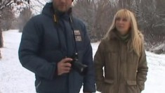 Hot blonde Jasmin pees in the snow and goes home to get fisted