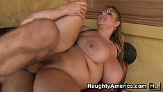 Plumper slut Samantha has huge hooters and a fat pussy getting fucked