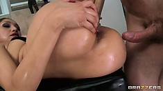 Chomping on his cock before he again stabs her bung hole, with gaping view