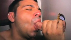 Horny Brunette Boy Francisco Milks Gloryhole Cocks With His Sexy Lips