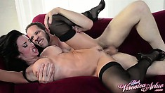 Driven by desire, Veronica jumps on top of that big dick and rides it with fervor