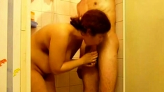 Thick Mature In Shower Jerking And Sucking