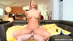 Athletic MILF Jandi Jenner riding a young dude's cock in the sofa