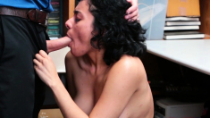 Busty latina thief throats and pussy rammed by store officer