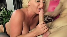 Busty blonde cougar Joanna seduces a young stud and he fucks her wet pussy deep