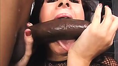 Busty brunette sucks and fucks a black dude, goes anal and eats her creampie cum