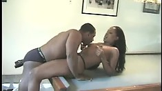 Lusty black babe begs to have her pussy worked by a hung fucker