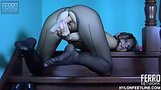 Bessy's looking hot in her pantyhose with a dildo in her wet twat