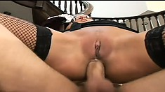 Blindfolded Anna Nova opens her mouth wide to taste a meaty surprise