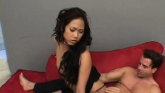 Whorish Asian schoolgirl seduces and does the dirty with American