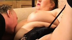 Nasty old lady still knows how to take a big cock in her cunt