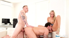 Blonde babe loves to fuck with bisexual babe